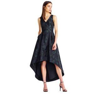 Aidan Mattox Navy Jacquard High Low Dress